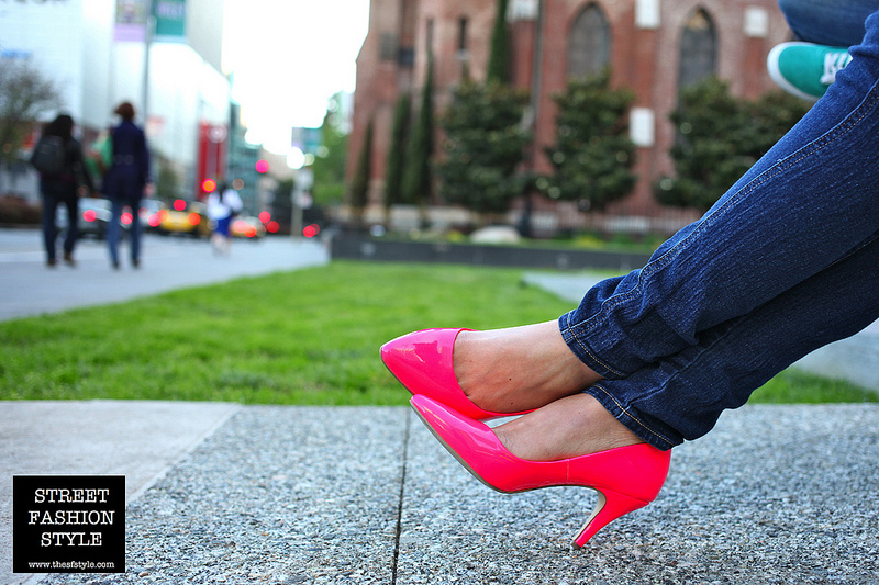 the SF style_hot pink pumps high heels